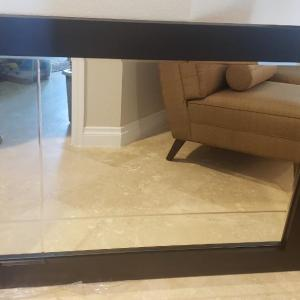 Photo of Black Carved Glass Mirror