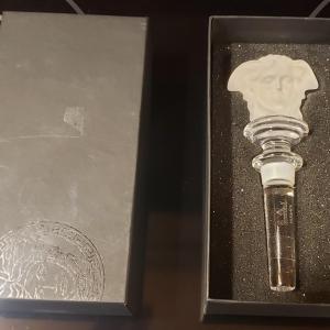 Photo of New in Box VERSACE ROSENTHAL Crystal Medusa Head Wine Bottle Stopper