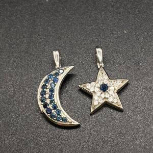 Photo of Sterling Silver CZ & Sapphire Moon and Star Pendant Enhancers Charms