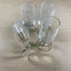 Photo of Set of 4 Floral Etched Cordial Glasses Sherry Stemware