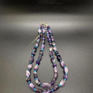 Photo of Double Strand Polished & Cut Amethyst Beaded Necklace