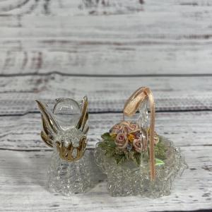 Photo of Blown Glass angel and basket Figurine