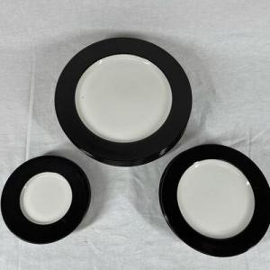 Photo of Black Rimmed Newcor Stoneware Plates Dishes Dishware
