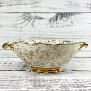 Photo of Homer Laughlin Georgian Gold vintage floral printed bowl