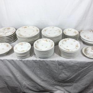 Photo of Large Set of Haviland Limoges Dainty Pink Rose China Dishes