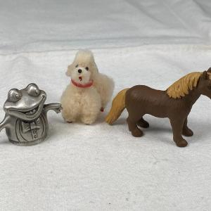 Photo of Miniature Animal Lot - Poodle Horse Frog