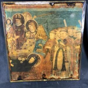 Photo of Vintage 1960s Religious Art on Wood Under Resin