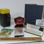 Metal Flash Light, 1941 Lutheran Hymnal, Toy Gold Coins, 2 Empty Cases, Cassette