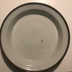 """Photo of Dansk 14"""" Serving Tray White/ Brown Trim"""