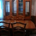Oak dining room table and hutch