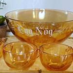Vintage Jeanette glass  Egg nog punch bowl and cups
