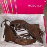 BCBG bronze glitter satin wedges 9M