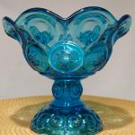 Vintage Blue Round Moon and Stars Compote by LE Smith Glass