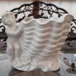 Vintage White Porcelain Cherub & Shell Planter / Vase