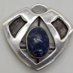 Lot 92: Handcrafted large Sterling silver brooch Blue Lapis Lazuli Brooch