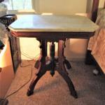 """Marble Top Eastlake Style Table- Approx 28"""" x 20"""" x 28 1/4"""" (Large)"""