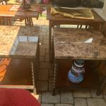 Two ceramic top tables