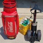 Lot 6 Garage: Vintage Coke Golf Bag, Golf Cart, and Balls