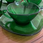 'Vereco' emerald green cups/saucers from France