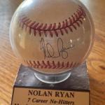 Nolan Ryan Autographed baseball. 7 time no-hitter, 300 win club sealed baseball