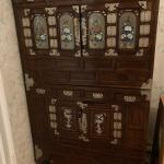 Brass and wood cabinet