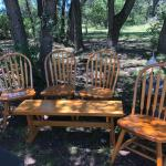 4 chairs with bench