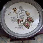 Vintage engraved on porcelain serving platter.