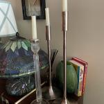 Silver candle sticks-2; crystal & silver candlestick-1