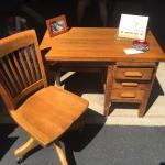 Antique Child's Oak Desk & Swivel Chair