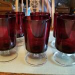6 ruby red glasses