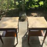 Two Marble/with a brown bottom  end tables