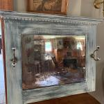 Vintage Farmhouse mirror & coat hanger ! With aged effect mirror !