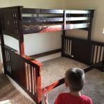 Couches, bunk beds, desk