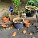 Lot 42: Ceramic Planters, Concrete Planter , Hanging Basket Stand & More