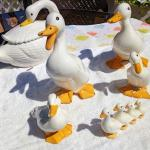 CERAMIC DUCK & DUCKLINGS FAMILY with a Swan Tureen