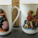 4 Older Norman Rockwell Mugs, Sour Note, Music Maker, Vacation's Over and Party