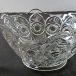 "Vintage Pattern Glass Ruffled Bowl Bullseye and Fan 7"""