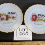 2 Vintage Anchor Hocking Maw and Paw Plates, Camden Arkensas