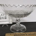 Large Vintage Pattern Glass Compote, Unknown Pattern Name