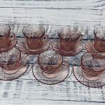 Set of 7 Depression Glass Pink Swirl Tea Coffee Cups with Saucers