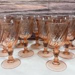 Set of 11 Arcoroc Rosaline Pink Swirl Water Wine Goblet Dinner Glasses