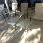 LOT 942. FOUR PATIO CHAIRS AND TWO SIDE TABLES
