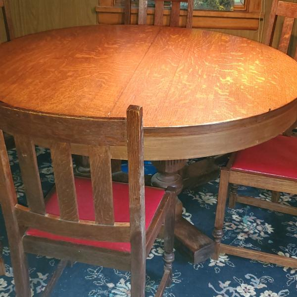 Photo of Antique Tiger Oak Mission Table & Chairs