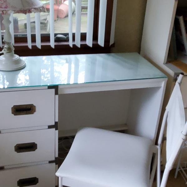 Photo of Desk and Shelving Storage Unit
