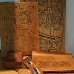 GROUPING OF TOOLED LEATHER POUCHES /WOODEN PUZZLE BOX
