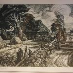 EUROPEAN ETCHING OF COTTAGE AND HAY FIELD SIGNED. FRAMED