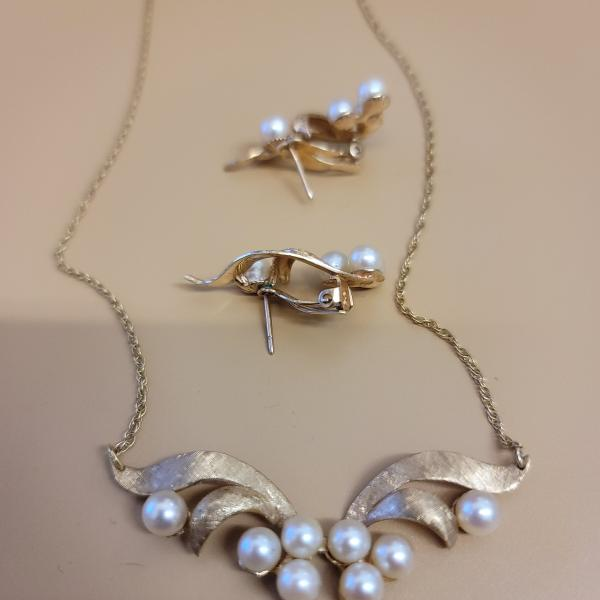 Photo of 14 Kt and Pearl Necklace  and Earring Set