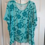 Turquoise Floral Plus Size Top - 3x