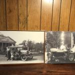 PAIR OF EARLY 1900'S PHOTOS OF FIGURES WITH VINTAGE CARS REPRODUCED AND MATT FRA