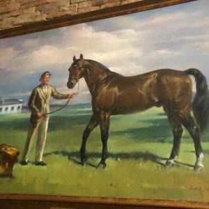"Photo of HUGE Original Joseph H Sulkowski Oil On Canvas ""Delvin Miller And Adios"" Loc"